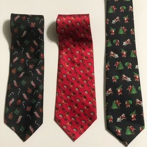 Lot of 3 Christmas Holiday Neck Ties